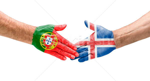Football teams - Handshake between Portugal and Iceland Stock photo © Zerbor