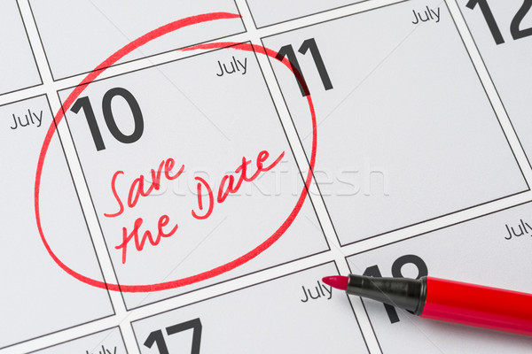 Save the Date written on a calendar - July 10 Stock photo © Zerbor