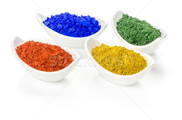 Vibrant color pigments in porcelain bowls  Stock photo © Zerbor