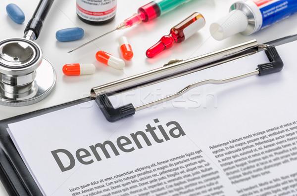 Diagnoza demencja napisany schowek szpitala muzyka Zdjęcia stock © Zerbor