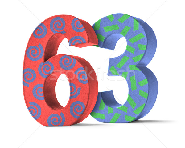 Colorful Paper Mache Number on a white background  - Number 63 Stock photo © Zerbor