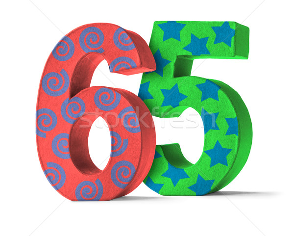 Colorful Paper Mache Number on a white background  - Number 65 Stock photo © Zerbor