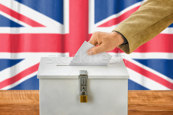 Férfi szavazócédula szavazás doboz Egyesült Királyság buli Stock fotó © Zerbor