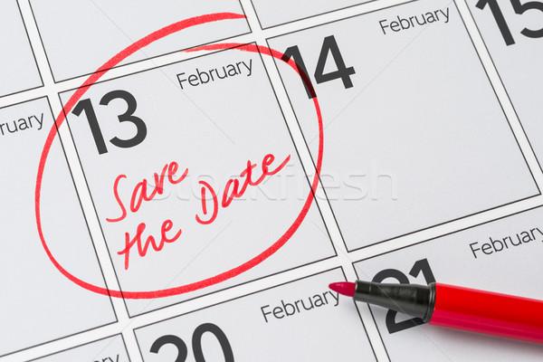 Opslaan datum geschreven kalender 13 business Stockfoto © Zerbor