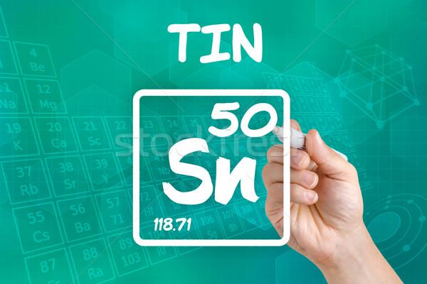 Szimbólum vegyi alkotóelem konzervdoboz kéz technológia Stock fotó © Zerbor