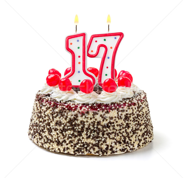 Pastel de cumpleanos ardor vela número 17 torta Foto stock © Zerbor