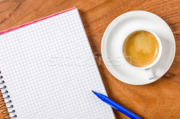 Empty notepad with pen and espresso Stock photo © Zerbor