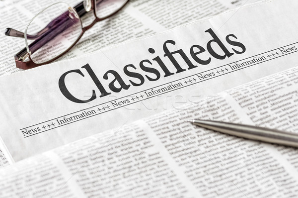 A newspaper with the headline Classifieds Stock photo © Zerbor