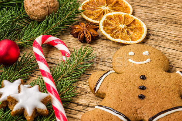 Gingerbread man şeker Noel süslemeleri gıda Stok fotoğraf © Zerbor