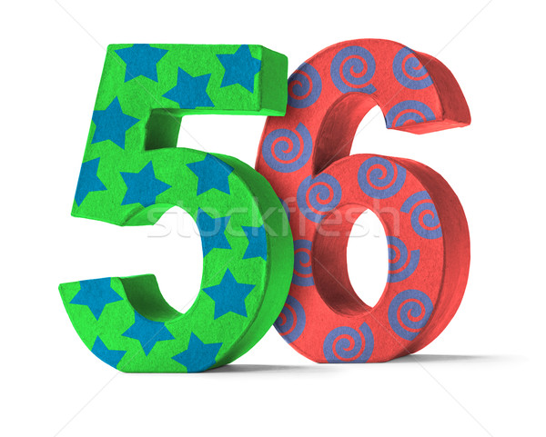 Colorful Paper Mache Number on a white background  - Number 56 Stock photo © Zerbor