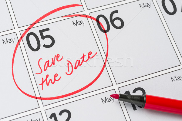Save the Date written on a calendar - May 05 Stock photo © Zerbor