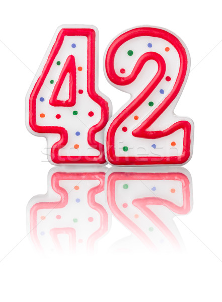 Red number 42 with reflection on a white background Stock photo © Zerbor