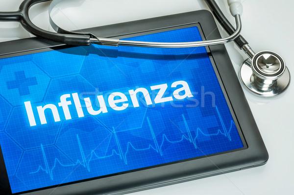 Tabletta diagnózis influenza kirakat számítógép orvos Stock fotó © Zerbor