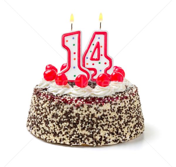 Doğum günü pastası yanan mum numara 14 kek Stok fotoğraf © Zerbor