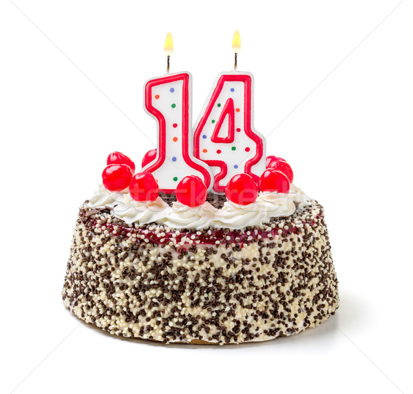 Foto stock: Pastel · de · cumpleanos · ardor · vela · número · 14 · torta