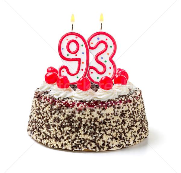 Birthday cake with burning candle number 93 Stock photo © Zerbor