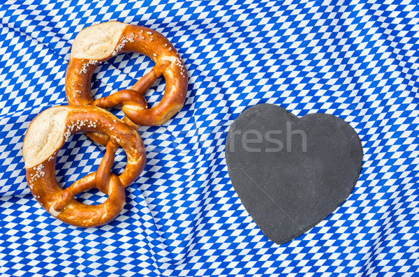 A heart shaped blackboard with two pretzels Stock photo © Zerbor