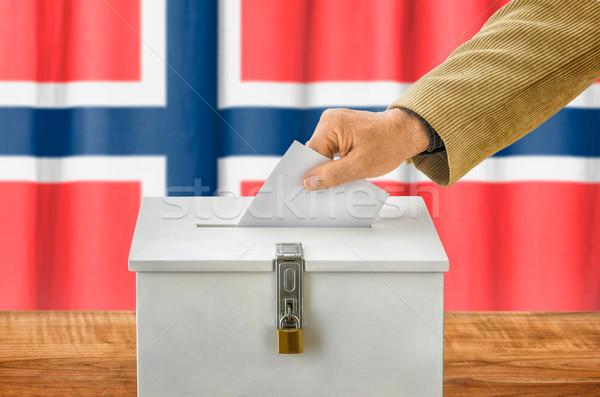 Homme scrutin boîte Norvège fête Photo stock © Zerbor