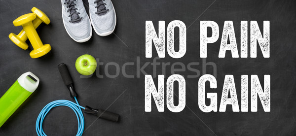 Fitness equipment on a dark background - No pain no gain Stock photo © Zerbor