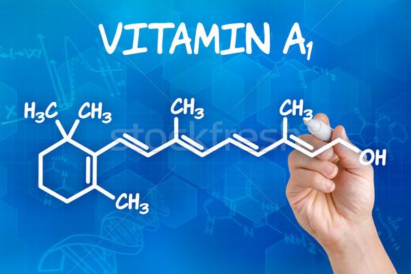Photo stock: Main · stylo · dessin · chimiques · formule · vitamine