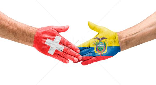 Handdruk Zwitserland Ecuador hand vergadering sport Stockfoto © Zerbor