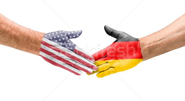 ハンドシェーク 米国 ドイツ 手 会議 スポーツ ストックフォト © Zerbor