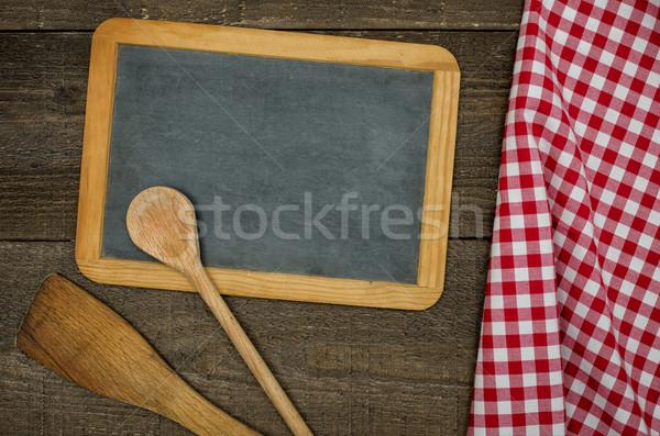 Vazio lousa colheres vermelho Foto stock © Zerbor