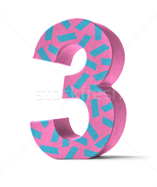 Colorful Paper Mache Number on a white background  - Number 3 Stock photo © Zerbor