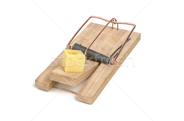 loaded mousetrap with cheese as bait Stock photo © Zerbor