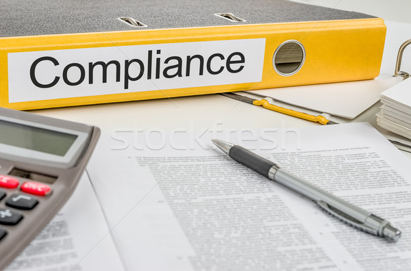 Ordner Label Compliance Geld Stift Industrie Stock foto © Zerbor