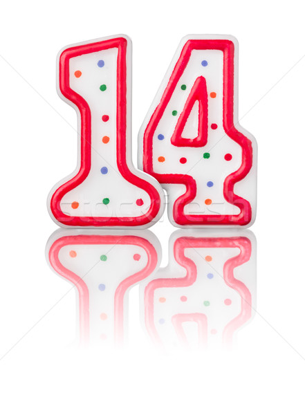 Red number 14 with reflection on a white background Stock photo © Zerbor