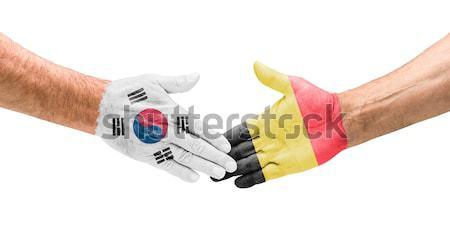Aperto de mão Coréia do Sul Bélgica mão reunião mundo Foto stock © Zerbor