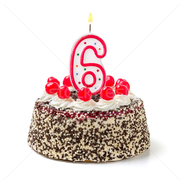 Birthday cake with burning candle number 6 Stock photo © Zerbor