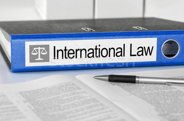 Blauw map label internationale recht pen Stockfoto © Zerbor