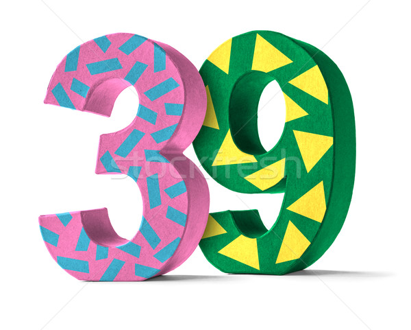 Colorful Paper Mache Number on a white background  - Number 39 Stock photo © Zerbor