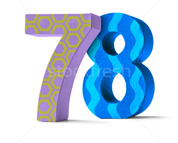 Colorful Paper Mache Number on a white background  - Number 78 Stock photo © Zerbor