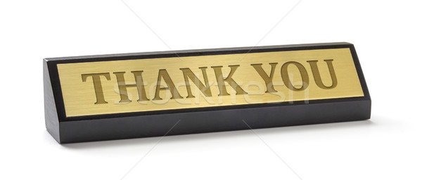 A name plate on a white background with the engraving Thank you Stock photo © Zerbor