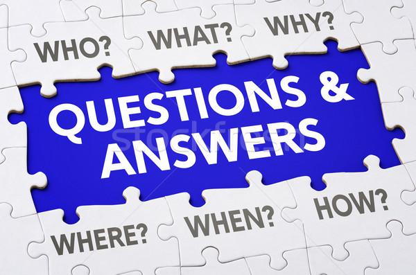 Szöveg kirakó darabok kérdések válaszok üzlet felirat Stock fotó © Zerbor
