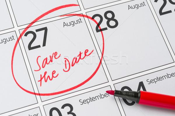 Salvare data scritto calendario agosto party Foto d'archivio © Zerbor