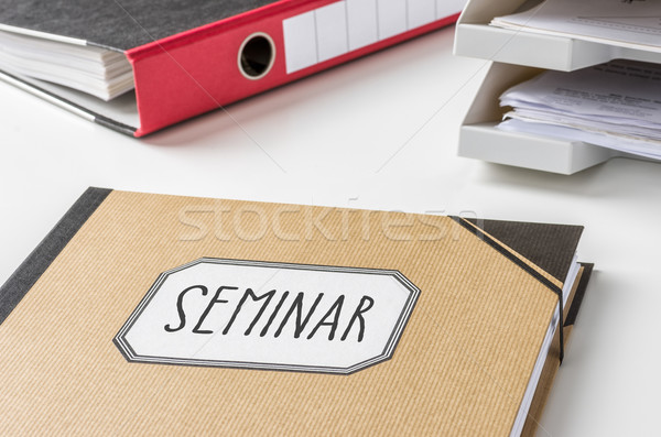 Ordner Label Seminar Geld Bildung Schreibtisch Stock foto © Zerbor