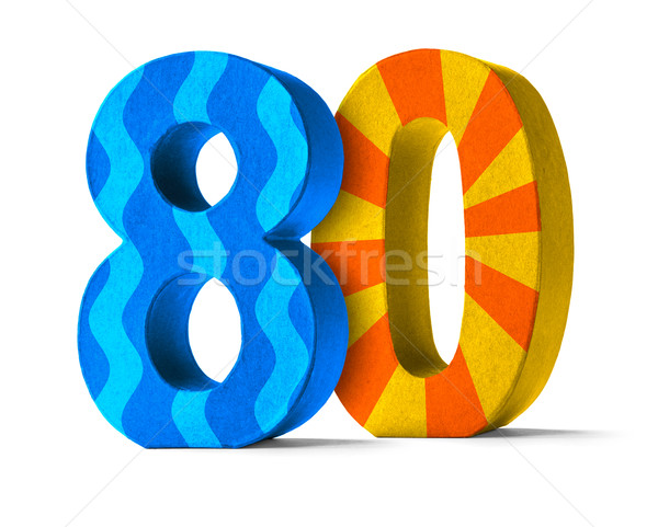 Colorful Paper Mache Number on a white background  - Number 80 Stock photo © Zerbor