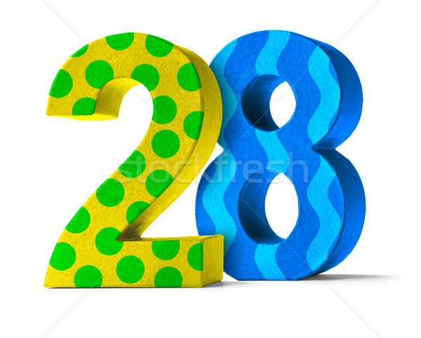 Colorful Paper Mache Number on a white background  - Number 28 Stock photo © Zerbor