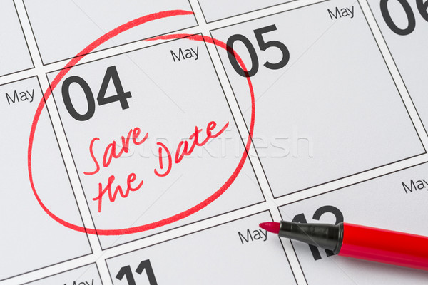 Save the Date written on a calendar - May 04 Stock photo © Zerbor