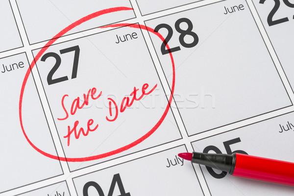 Salvare data scritto calendario party pen Foto d'archivio © Zerbor
