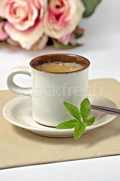 Espresso pozostawia żywności liści zdrowia pić Zdjęcia stock © Zerbor