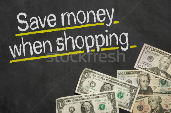 Szöveg iskolatábla pénz megtakarítás vásárlás felirat Stock fotó © Zerbor