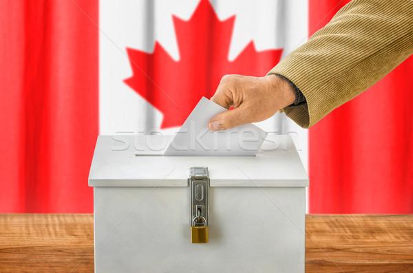 Homem cédula votação caixa Canadá festa Foto stock © Zerbor