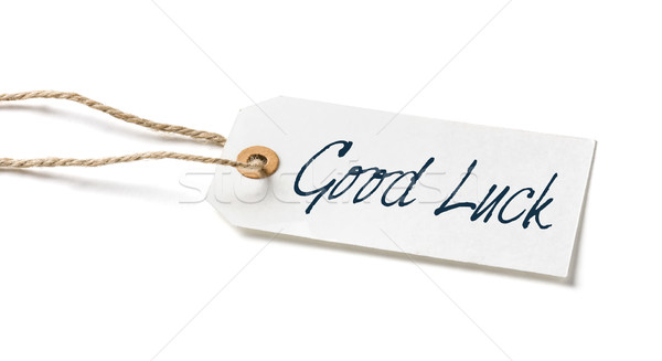 Stock photo:  Tag on a white background with the text Good Luck
