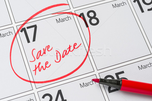 Opslaan datum geschreven kalender 17 partij Stockfoto © Zerbor