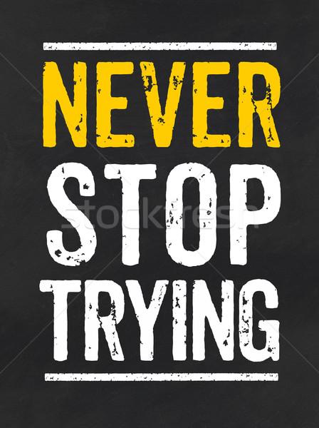 黒板 文字 決して 停止 黒 黄色 ストックフォト © Zerbor
